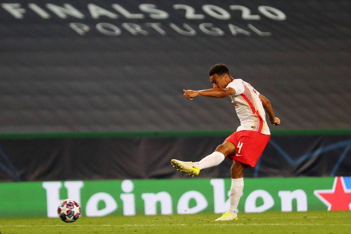 Tyler Adams skorar sigurmark RB Leipzig gegn Atlético Madrid.