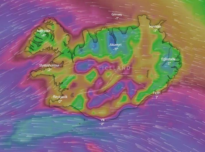 Skjáskot af vefnum Windy.com. Staðan á læginni klukkan 7 í fyrramálið.