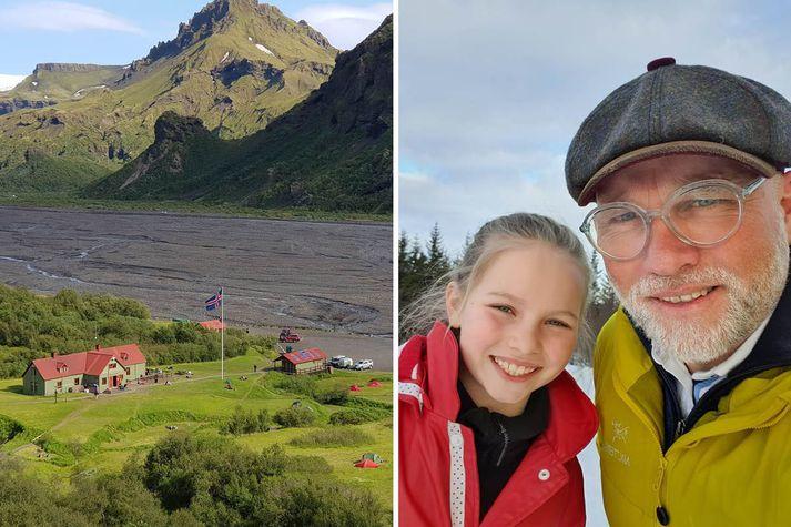 Páll Guðmundsson, framkvæmdastjóri Ferðafélags Íslands, ásamt dóttur sinni.