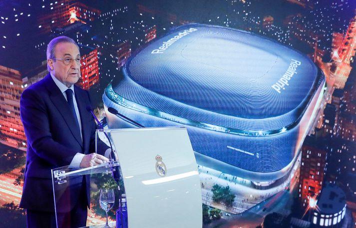 Florentino Perez, forseti Real Madrid, er formaður ofurdeildar Evrópu.