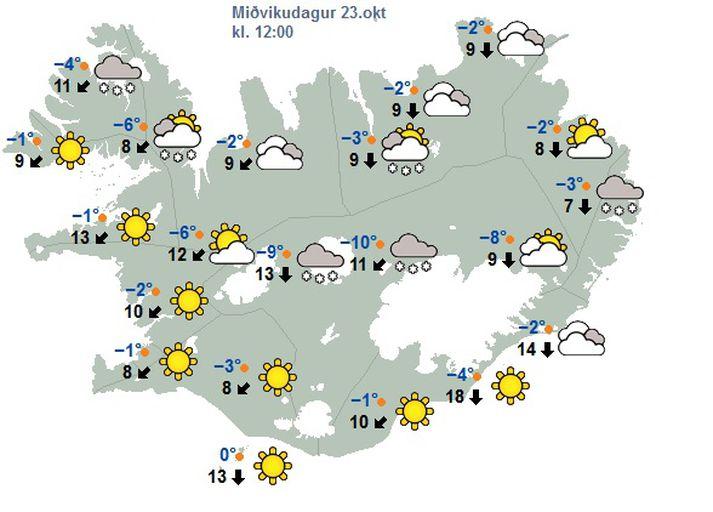 Eins og sést á þessu spákorti Veðurstofunnar fyrir hádegið í dag er ansi kalt um allt land.