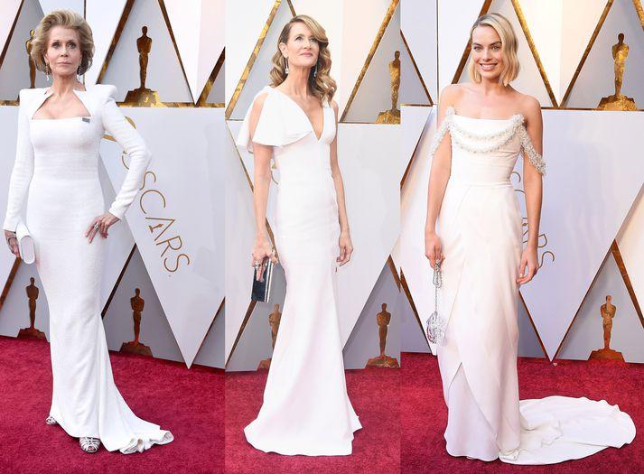 Jane Fonda í Balmain, Laura Dern í Calvin Klein og Margot Robbie í Chanel Haute Couture
