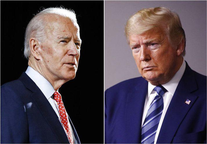 Ef kosið yrði í dag gæti svo farið að Joe Biden (t.v.) hefði afgerandi sigur gegn Trump forseta.