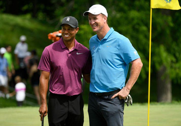 Peyton og Tiger er vel til vina.