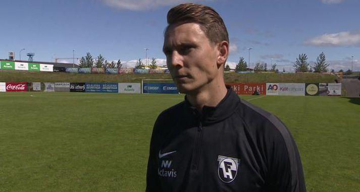 Eggert Gunnþór ræddi við Anton Inga í Kaplakrika í dag.