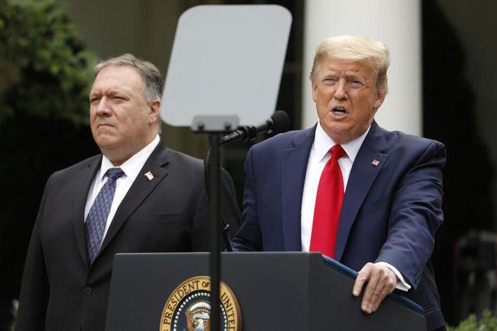Donald Trump Bandaríkjaforseti og Mike Pompeo utanríkisráðherra Bandaríkjanna.