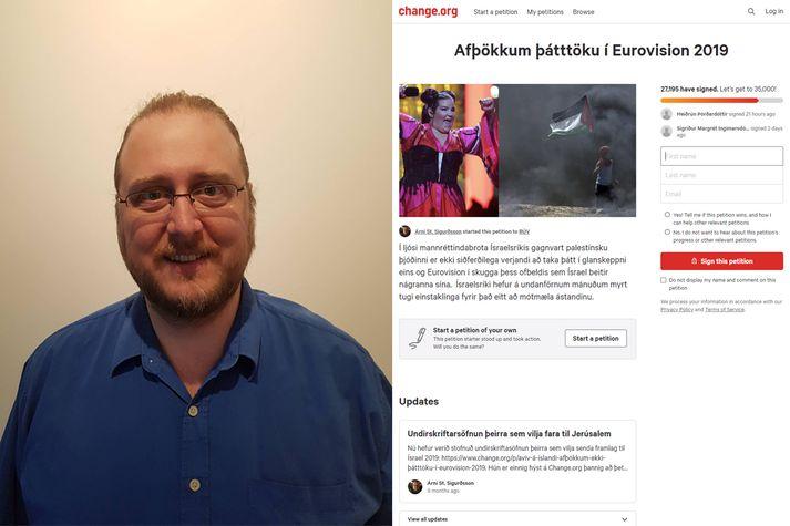 Árni Steingrímur hóf undirskriftarsöfnunina þar sem hvatt er til þess að RÚV sniðgangi Eurovision í Ísrael.