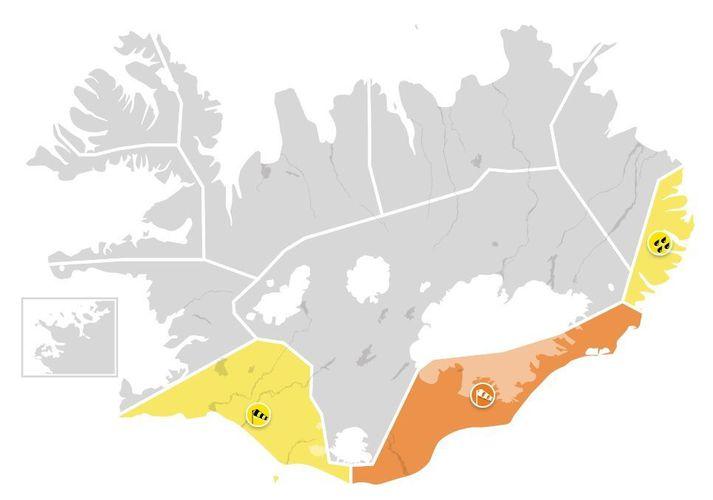 Ferðalangar á Suður- og Austurlandi ættu að hafa varann á.
