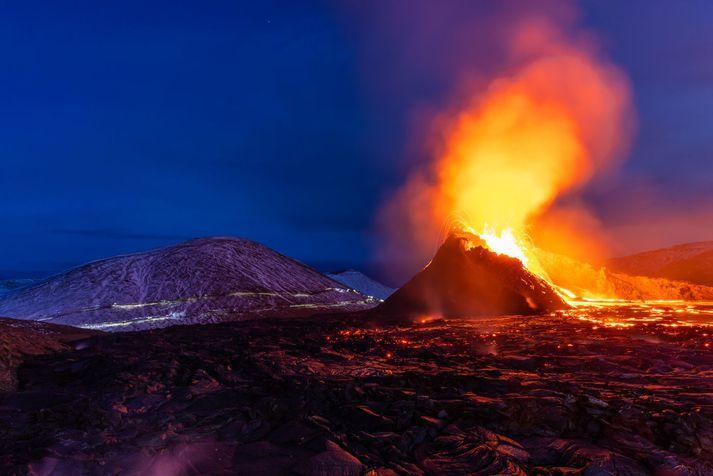 Eldgos í Geldingadölum á Reykjanesi.
