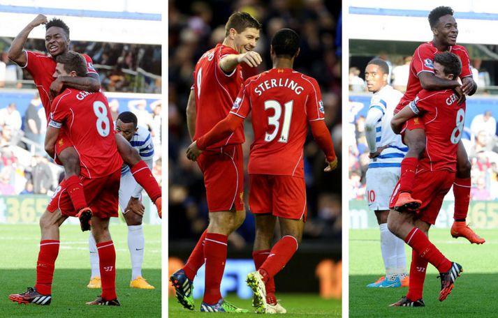 Steven Gerrard og Raheem Sterling voru í stóru hlutverki hjá Liverpool keppnistímabilið 2013 til 2014.