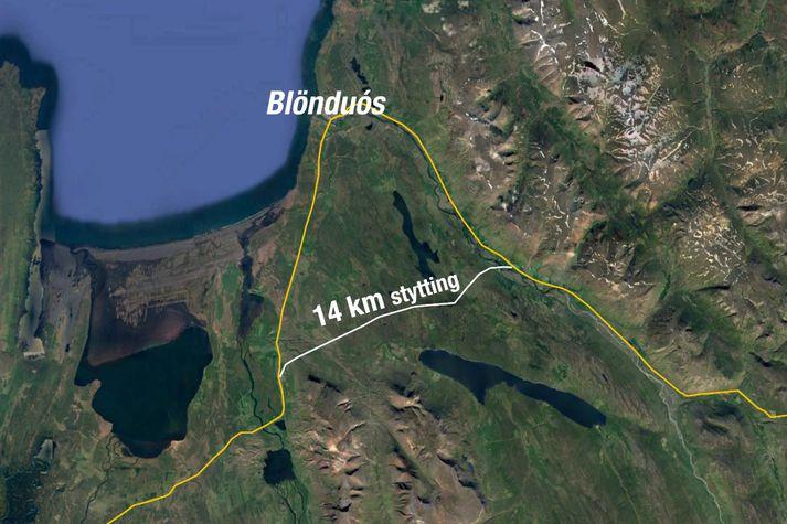 Húnavallaleið styttir leiðina milli Reykjavíkur og Akureyrar um 14 kílómetra.