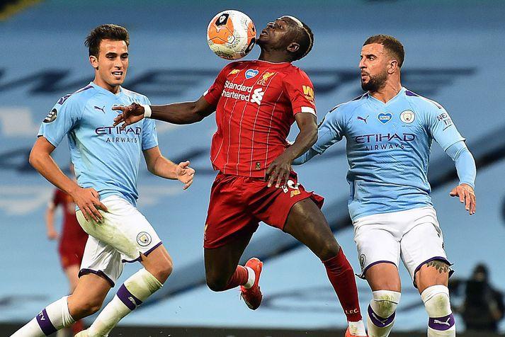 Sadio Mane í leik með Liverpool á móti Manchester City á síðasta tímabili.