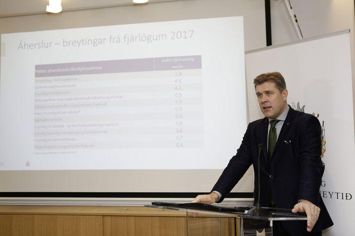 Bjarni Benediktsson sagði að framlög til heilbrigðismála yrðu aukin um 21 milljarð króna.