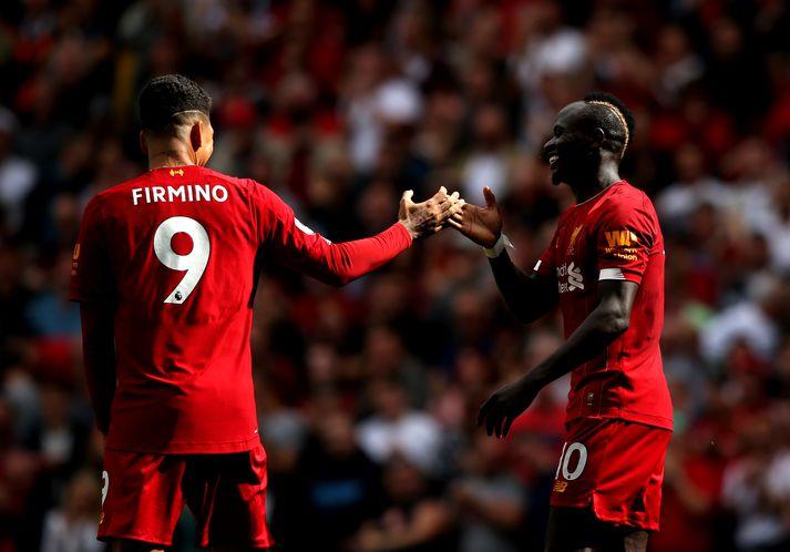 Firmino og Mané fagna einu af þremur mörkum Liverpool í dag.
