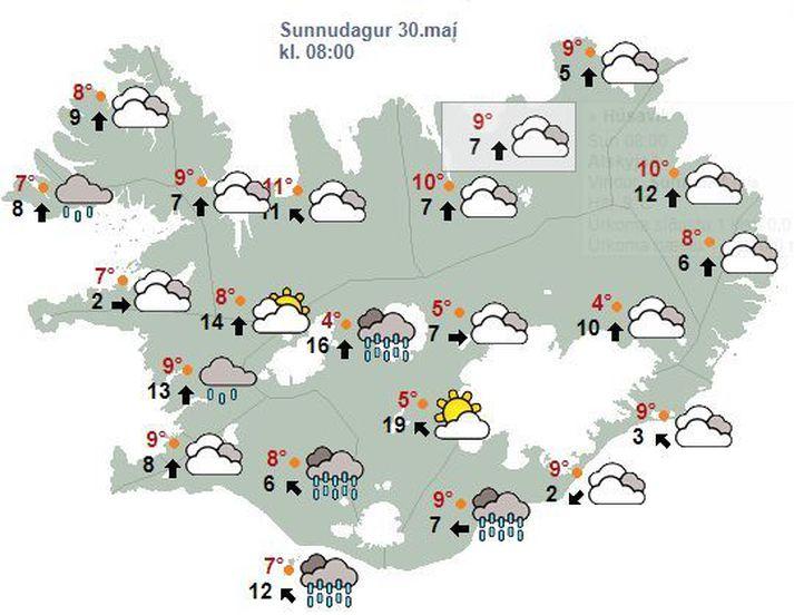 Það verður skýjað á nær öllu landinu í dag en rofað gæti til á Norðausturlandi. Talsverð rigning á sunnanverðu landinu.