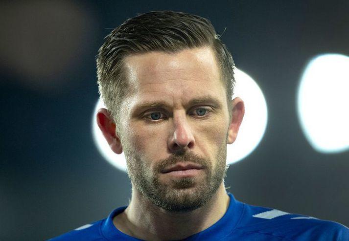 Gylfi Þór Sigurðsson var bara búinn að vera inn á vellinum í 43 sekúndur þegar hann lagði upp sigurmark Everton í gær.