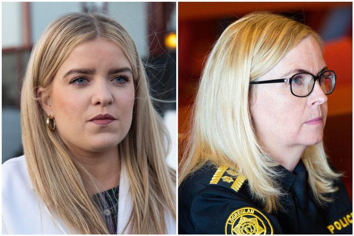 Áslaug Arna Sigurbjörnsdóttir dómsmálaráðherra og Halla Bergþóra Björnsdóttir, lögreglustjóri á höfuðborgarsvæðinu.
