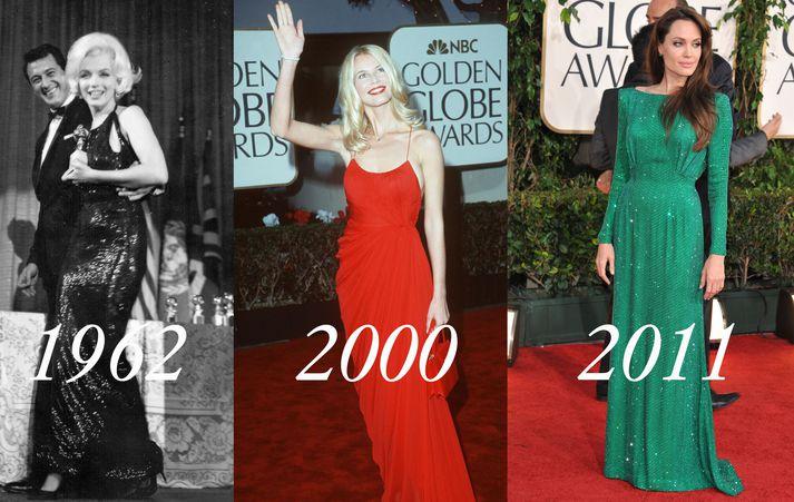 Marilyn Monroe árið 1962. Claudia Schiffer árið 2000. Angelina Jolie árið 2011.