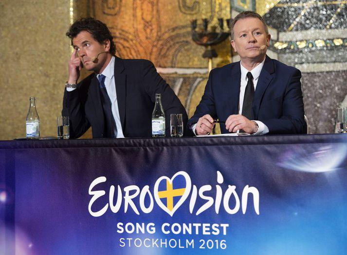 Martin Österdahl sést hér ásamt Jon Ola Sand. Sá fyrrnefndi var yfirframleiðandi Eurovision þegar keppnin var haldin í Stokkhólmi 2016, sem og árið 2013 í Malmö.