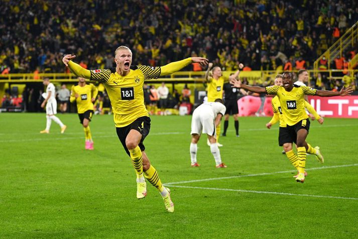 Erling Braut Haaland skoraði tvö mörk fyrir Dortmund í dag.