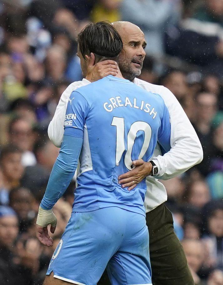 Pep Guardiola þjálfari Manchester City var sáttur í leikslok