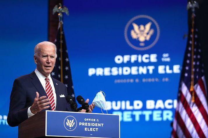 Joe Biden verðandi forseti hélt ræðu í heimaríki sínu Delaware í gærkvöldi.