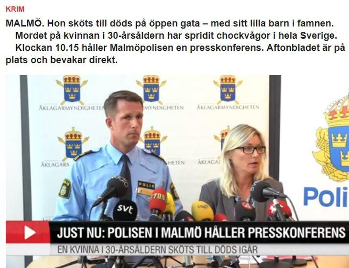 Fulltrúar sænsku lögreglunnar á blaðamannafundi í Malmö í morgun.