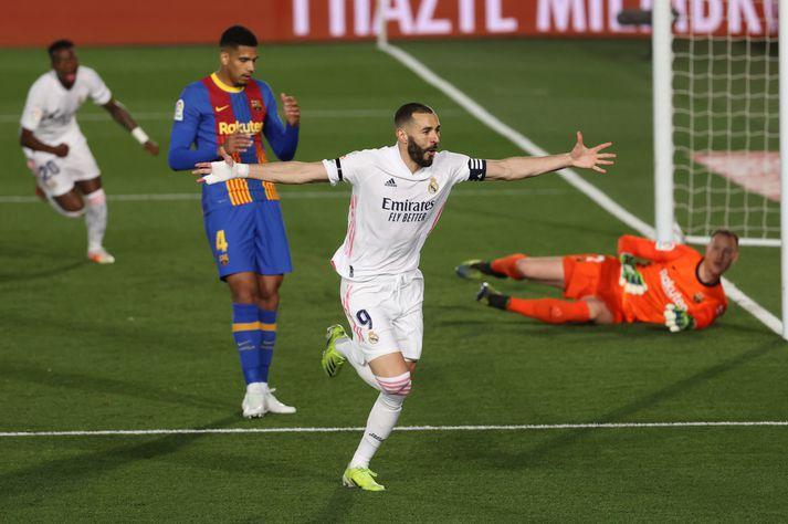 Karim Benzema er ein aðalástæða þess að Real er yfirhöfuð í titilbaráttu í ár.
