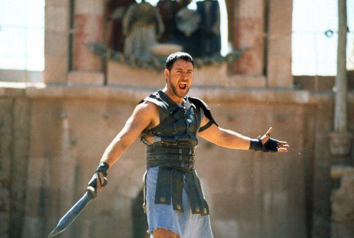 Russell Crowe var stórkostlegur í hlutverki sínu sem skylmingaþrællinn Maximus í myndinni frá 2000.