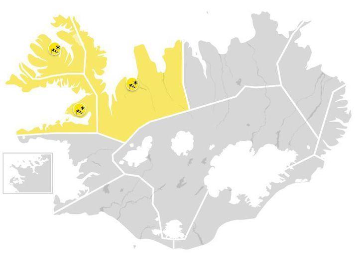 Veðurstofan hefur gefið út gular veðurviðvaranir á Breiðarfjarðarsvæðinu, Vestfjörðum og Ströndum og Norðurlandi vestra.