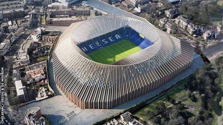 Áætlanir um endurgerð Stamford Bridge, sem hafa verið settar á hilluna, gerðu ráð fyrir kostnaði upp á einn milljarð punda