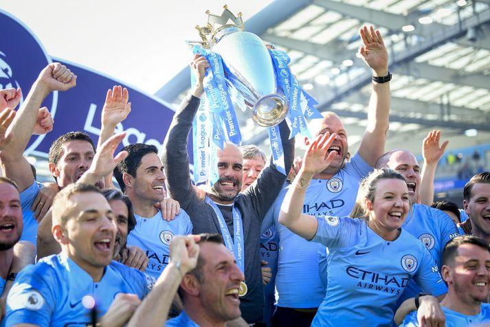 Manchester City fagnar Englandsmeistaratitlinum árið 2019. Þeir ætla væntanlega að gera atlögu að honum strax aftur á næsta tímabili.