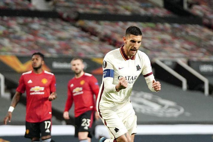 Lorenzo Pellegrini skoraði á móti Manchester United á Old Trafford í undanúrslitaleik Evrópudeildarinnar.