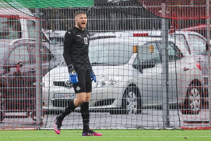 Jökull Andrésson lét vel í sér heyra í leiknum gegn Portúgal í gær.