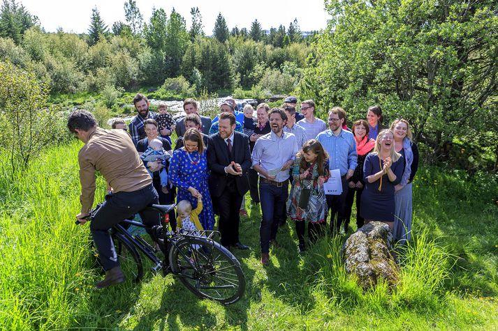 Frá blaðamannafundi sumarið 2014 þegar nýr meirihluti Samfylkingarinnar, VG, Pírata og Bjartrar framtíðar var kynntur.