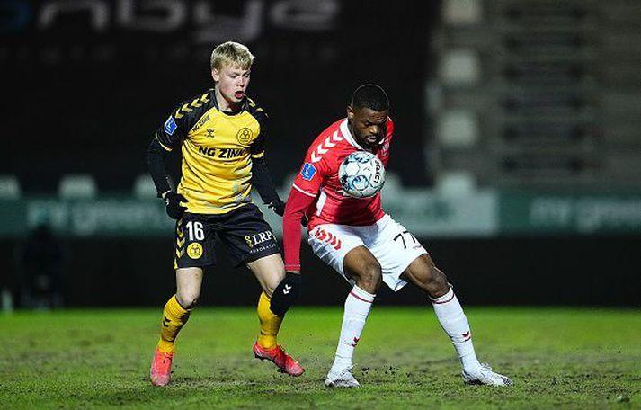 Ágúst Eðvald Hlynsson í leik gegn Vejle í dönsku Superligan.
