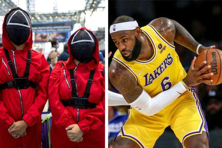Fólk í Squid Game búningnum og LeBron James í leik með Los Angeles Lakers liðinu.