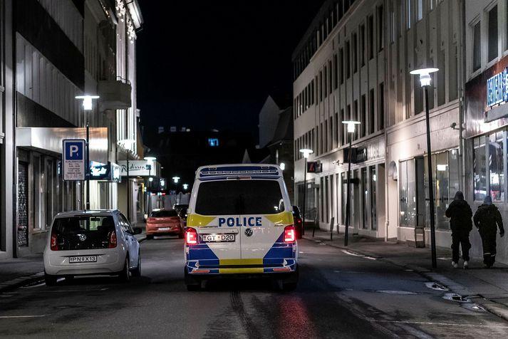 Frá eftirliti lögreglu í miðbæ Reykjavíkur.