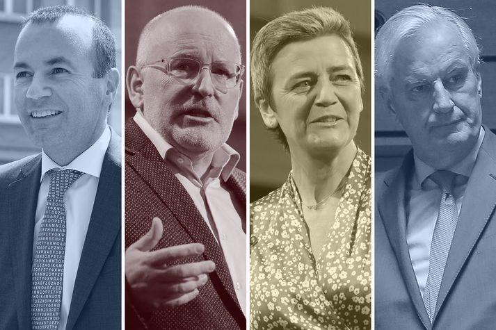 Þau sem þykja líklegust til að taka við valdamesta embættinu í Brussel. Manfred Weber, Frans Timmermans, Margarethe Vestager og Michel Barnier.