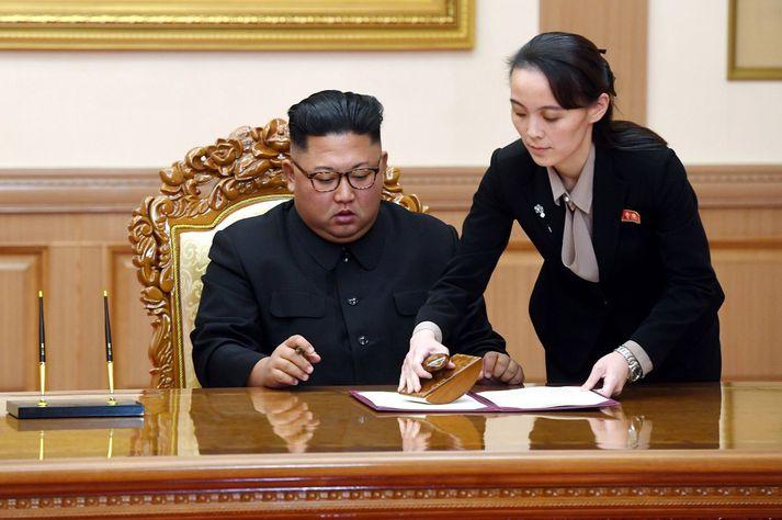 Kim Jong Un og Kim Yo Jong í september 2018. Þá hafði hann hitt Moon Jae-in, forseta Suður-Kóreu, og eru þau að skrifa undir yfirlýsingu í kjölfar fundarins.