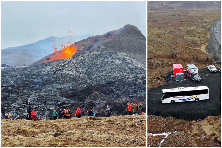 Rútur sem fóru úr Reykjavík að Geldingadölum voru vel nýttar, sérstaklega síðdegis í dag.