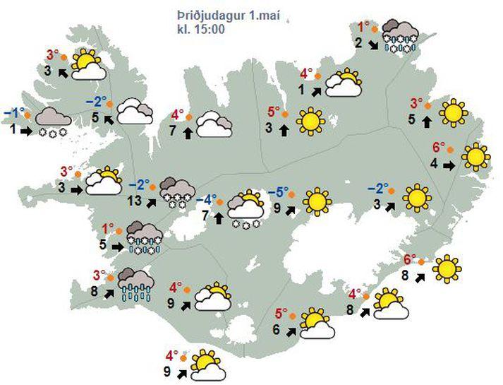 Spákort Veðurstofu Íslands fyrir miðjan dag í dag.