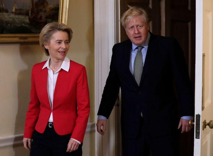 Ursula von der Leyen forseti framkvæmdastjórnar Evrópusambandsins og Boris Johnson, forsætisráðherra Bretlands.