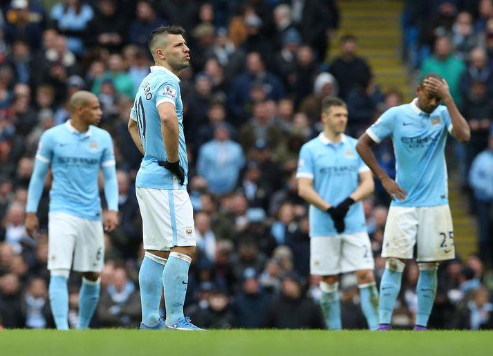 Leikmenn Manchester City eru komnir í 16-liða úrslit Meistaradeildar Evrópu en fá ekki að spila í keppninni á næstu leiktíð eins og sakir standa.