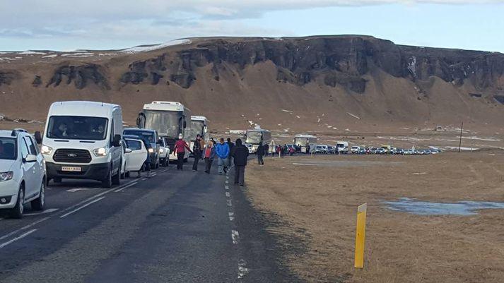 Loka þurfti Suðurlandsvegi í báðar áttir vegna rannsóknar á vettvangi og mynduðust langar bílaraðir vegna þess.