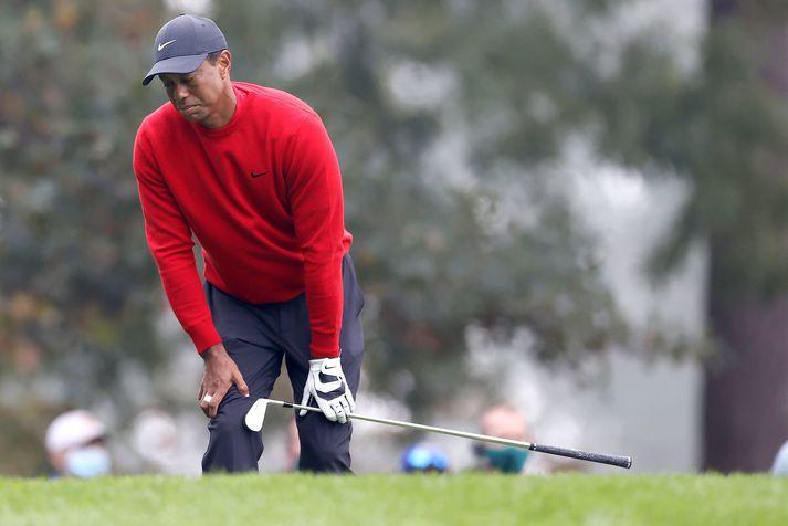 Tiger Woods náði fimm fuglum á síðustu sex holunum eftir hörmungarnar á tólftu.