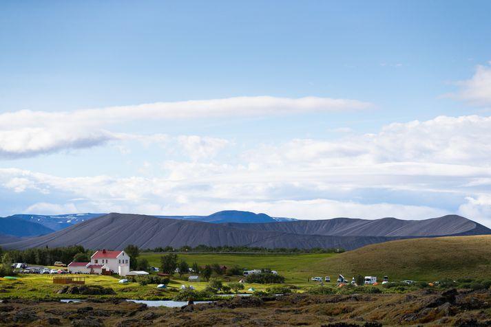 Það má búast við hlýju og björt veðri við Mývatn í dag.