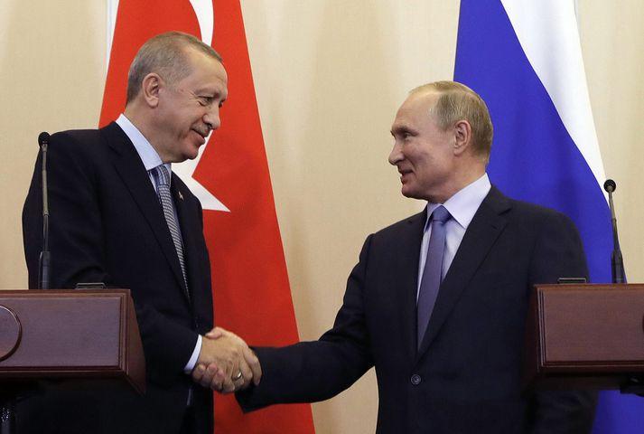 Recep Tayyip Erdogan og Vladimir Pútín.