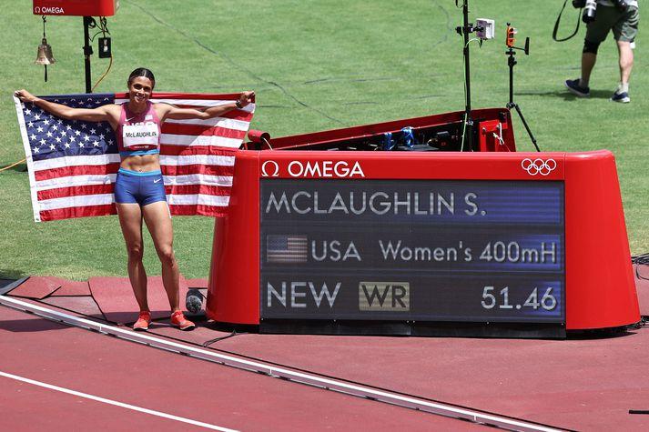 Sydney McLaughlin var að vonum ánægð með heimsmetið sitt í 400 metra grindahlaupi.
