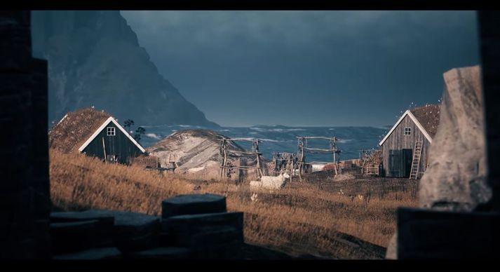 Eins og sjá má eru aðstæður í tölvuleiknum kunnuglegar fyrir Íslendinga.